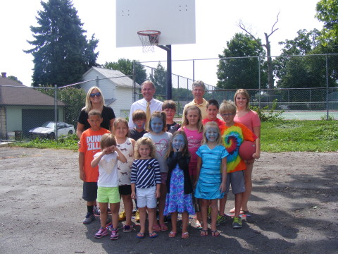 Sen. Eichelberger and Rod Feather with Y day campers and Roaring Spring Summer Rec participants