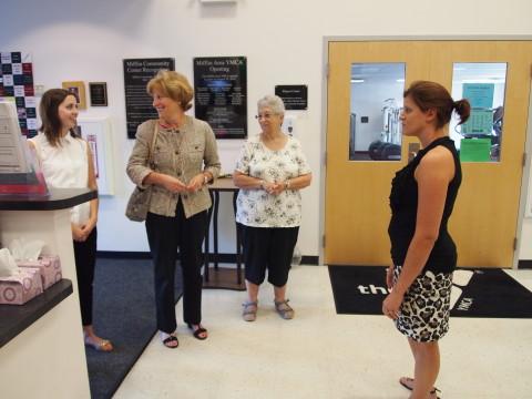 State Senator Judy Schwank tours the Mifflin Area YMCA in Mohnton, Pennsylvania