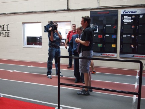 Branch Executive Rick Wagner leads Sen. Argall on tour of the Y with WFMZ Channel 69 cameras recording