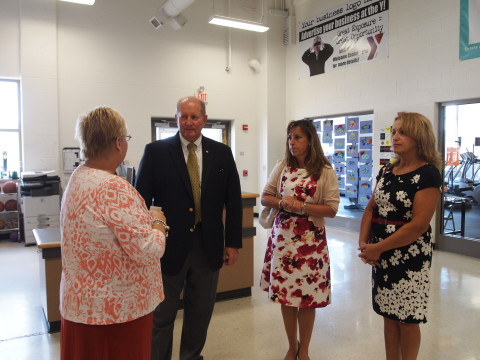 Rep. Jozwiak tours the Tri Valley Y with Kim Johnson (L), Jennifer Frees, Rep. Jozwiak District Office Manager (2nd from R) and Marta Gabriel (R), Regional Manager for U.S. Senator Pat Toomey