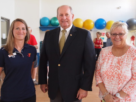 Megan Doughtery (L), Branch Executive and Kim Johnson (R), President and CEO of the YMCA of Reading and Berks County welcome State Representative Barry Jozwiak.