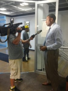 Y of Greater Pittsburgh CEO, Kevin Bolding, speaks to the media at the Homewood-Brushton Y Advocacy Week event.