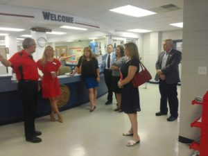 Waynesboro YMCA Executive Director Alan Smith greets local elected officials