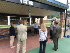 YMCA employee and Miracle League Coordinator Nicole Meier shows the YMCA of Indiana County Advocacy Day attendees the facilities. Also pictured: Pat Dougherty (Indiana County District Attorney), Joe Pittman (Chief of Staff for Senator Don White's Indiana Office), Byron Stauffer, Jr. (Executive Director of the Indiana County Office of Planning and Development), and Annetta Denning (CNX Gas Company employee).