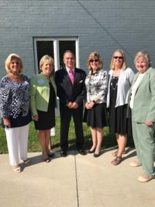 Over 100 community leaders, including two Montgomery Country Commissioners, attended the dedication of the Lansdale Branch to to Elizabeth and Eric Arneth. The Lansdale Family Family YMCA received $3 million dollars from a Charitable Remainder Trust. PA State Rep Kate Harper, Clair Edermeyer (local township official), Susan Fisher (Board President), Nancy Becker (former Montgomery County Recorder of Deeds and Y Board Member) and Bob Gallagher (North Penn YMCA CEO) pose for a photo at the event.