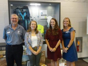 Waynesboro Area YMCA CEO Alan Smith (far left), State Alliance intern Sydney Klabnik (2nd from left), Health and Wellness Director Shannon Lee (2nd from right), and Senior Program and Membership Director Amanda Gietka (right) pose for a photo at the Waynesboro Area YMCA Advocacy Event. The event included a tour of the Y facility and a presentation on the LiveSTRONG program intended to launch at the Waynesboro Area YMCA this September.